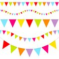 Set Of Five Seamless Buntings Seven Colors