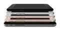 Set of five smartphones gold, rose, silver, black and black polished