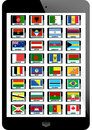 Set of flag nation on tablaet background Royalty Free Stock Photos