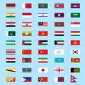 Set of flags asia eps Royalty Free Stock Image