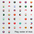 Set of flags asia eps Royalty Free Stock Images