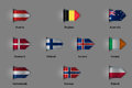 Set of flags in the form of a glossy textured label or bookmark. European countries Austria Belgium Denmark Finland Iceland Irelan Royalty Free Stock Photo