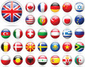 Set of flags. Glossy buttons. Royalty Free Stock Photos