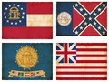 Set flags north america georgia historic georgia flags historic us flag Royalty Free Stock Photography
