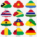 Set Flags of world sovereign states in form Royalty Free Stock Photography