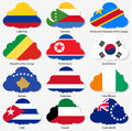 Set Flags of world sovereign states in form Royalty Free Stock Image