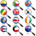 Set flags of world sovereign states magnifying glass vector illustration Royalty Free Stock Images