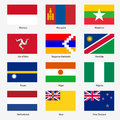 Set flags of world sovereign states vector illustration number exact colors easy changes Royalty Free Stock Photos