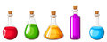 Set of flasks with colorful liquids. Vector illustration. Royalty Free Stock Photo
