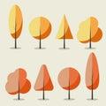 Set of flat autumn trees