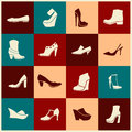 Set of flat boot icons Royalty Free Stock Photo