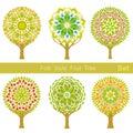 Set of flat cartoon folk style fruit trees