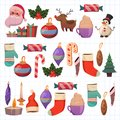 Set of flat Christmas icons for banners Xmas Happy new year Santa Claus Christmas decoration Christmas ball Flat Royalty Free Stock Photo