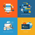Set of flat concept icons for web development design and mobile services and apps design application seo and Stock Image