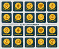 Set of 10 flat currency cryptocurrency icon