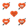 Set of flat cute emoji heart faces with arrow isolated on the white background. Happy emoticons faces. Collection of