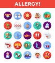 Set of flat design allergy and allergen icons Royalty Free Stock Photo