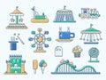 Set of flat design amusement park line icons Royalty Free Stock Photo