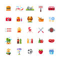 Set of flat design barbecue, summer picnic icons