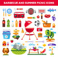 Set of flat design barbecue and summer picnic