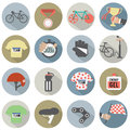 Set of Flat Design Bicycle and Accessories Icons Royalty Free Stock Photo