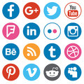 Set of flat design buttons with the most popular social network