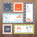 Set of flat design Christmas and New Year greeting cards Royalty Free Stock Photo
