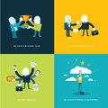 Set of flat design concept icons for business winning team partners versatility and company objectives Stock Photo