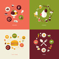 Set of flat design concept icons for restaurant food and drink dessert drinks fast food menu Royalty Free Stock Images