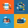 Set of flat design concept icons for web design and mobile phone services and apps application development services Stock Photos