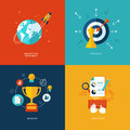Set of flat design concept icons for web and mobil marketing research strategy mission analytics Stock Photo