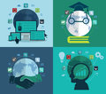 Set of flat design concept icons for web social network education investment global business abstract infographic modern Royalty Free Stock Photo