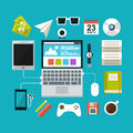 Set of flat design concept icons for workspace vector illustration in eps Royalty Free Stock Images
