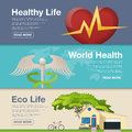 Set of flat design concept for World Health Day. Vector illustration for web banners.