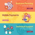 Set of flat design concepts for business planning, mobile payments, technical support.
