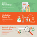 Set of flat design concepts for online advertising marketing research and analytics search information web banners Royalty Free Stock Photos