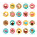 Set of flat design dessert icons. Royalty Free Stock Photo