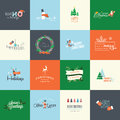 Set of flat design elements for christmas and new year greeting cards labels badges printed materials Stock Photos