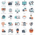 Set of flat design icons for business, pay per click, creative process, searching, web analysis, time is money, on line shopping. Royalty Free Stock Photo