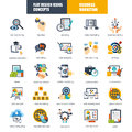 Set of flat design icons concept for marketing and strategy analysis Royalty Free Stock Photo