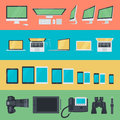 Set of flat design icons of electronic devices Royalty Free Stock Photo
