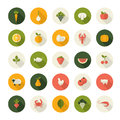 Set of flat design icons for food and drink restaurant market e commerce online shop printed materials organic producer Royalty Free Stock Photos