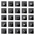 Set of flat design icons with long shadows. Stock Photography
