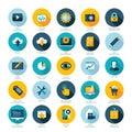 Set of flat design icons for Web design developmen