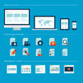 Set of flat design icons for web and mobile phone modern Stock Images