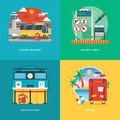 Set of flat design illustration concepts for airport transfer, security check, boarding desk, luggage service. Royalty Free Stock Photo
