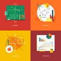 Set of flat design illustration concepts for algebra, geometry, calculus, statistics. Education and knowledge ideas.