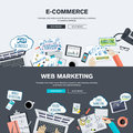 Set of flat design illustration concepts for e-commerce and web marketing Royalty Free Stock Photo