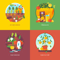 Set of flat design illustration concepts for kitchen garden, fresh juices, vegetarianism and plant in a pot. Fruit and vegetables Royalty Free Stock Photo