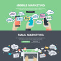 Set of flat design illustration concepts for mobile and email marketing Royalty Free Stock Photo